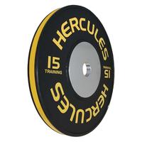 Диск тяжелоатлетический тренировочный «Hercules» NEW, 15 кг. черно-жёлтый