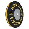 Диск тяжелоатлетический тренировочный «Hercules» NEW, 15 кг. черно-жёлтый   - фото 2