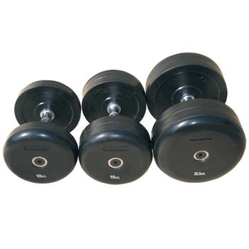 Комплект гантелей обрезиненных, цвет чёрный  12,5кг-20кг (75074/12,5-20) - фото 1