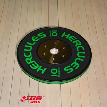 Диск тяжелоатлетический тренировочный «Hercules» NEW, 10 кг. черно-зелёный  - фото 1