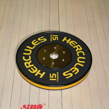 Диск тяжелоатлетический тренировочный «Hercules» NEW, 15 кг. черно-жёлтый  - фото 1