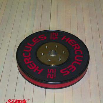 Диск тяжелоатлетический тренировочный «Hercules» NEW, 25 кг. черно-красный  - фото 1