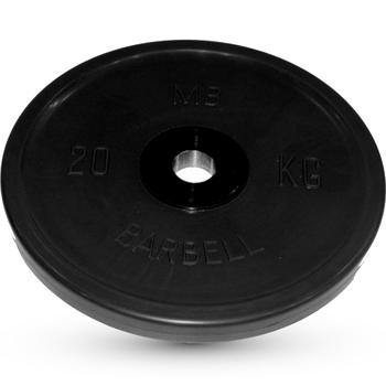 Диск BARBELL Евро-классик обрезиненный черный, 20 кг.  - фото 1