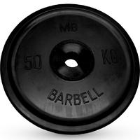 Диск BARBELL Евро-классик обрезиненный черный, 50 кг.