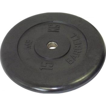 Диск обрезиненный черный BARBELL 15 кг., d26мм  - фото 1
