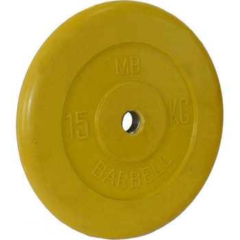 Диск обрезиненный цветной BARBELL 15 кг., d26мм  - фото 1