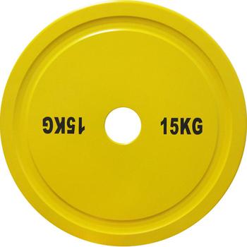 Диск стальной 15 кг желтый DHS для пауэрлифтинга  - фото 1