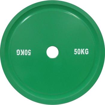Диск стальной 50 кг зеленый DHS для пауэрлифтинга  - фото 1