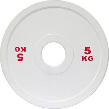 Диск стальной 5 кг белый DHS для пауэрлифтинга  - фото 1