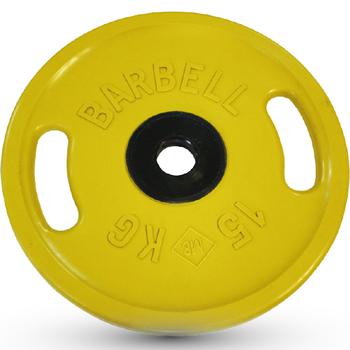 Диск BARBELL Евро-классик с ручками обрезин. цветн., 15 кг  - фото 1