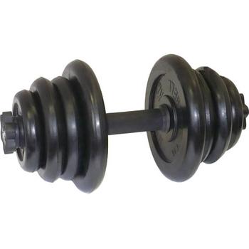 Гантель разборная. Диски обрезиненные, черные. 25 кг.  - фото 1