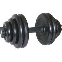 Гантель разборная. Диски обрезиненные, черные. 30 кг.