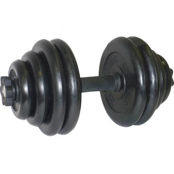 Гантель разборная. Диски обрезиненные, черные. 30 кг.  - фото 1