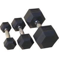 Комплект гантелей гексагональных,обрезиненных 1 кг - 10 кг (72014/1-10)