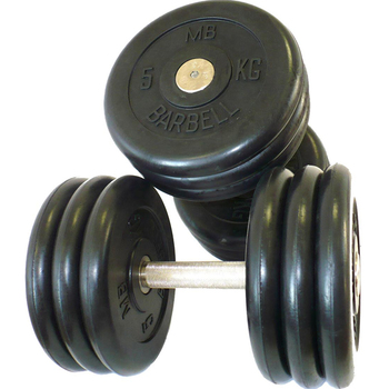 Гантель фиксированная MB «Проф» 6 кг., цвет черный  - фото 1