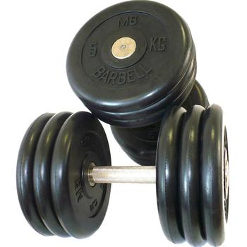 Гантель фиксированная MB «Проф» 33,5 кг. цвет черный  - фото 1